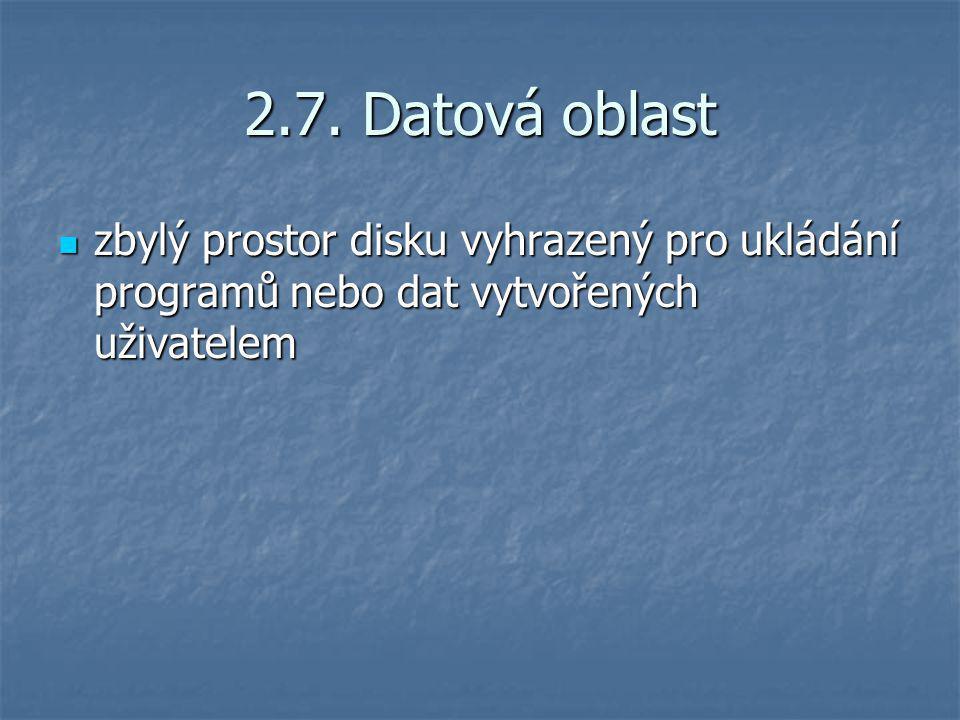 2.7. Datová oblast zbylý prostor disku vyhrazený pro ukládání programů nebo dat vytvořených uživatelem zbylý prostor disku vyhrazený pro ukládání prog