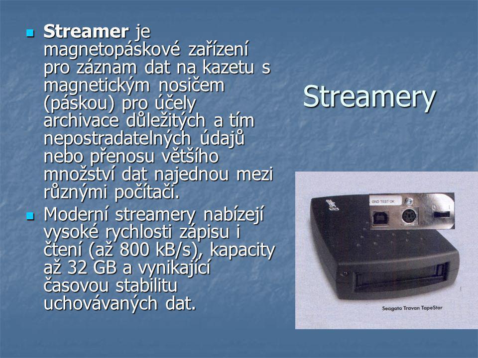 Streamery Streamer je magnetopáskové zařízení pro záznam dat na kazetu s magnetickým nosičem (páskou) pro účely archivace důležitých a tím nepostradatelných údajů nebo přenosu většího množství dat najednou mezi různými počítači.