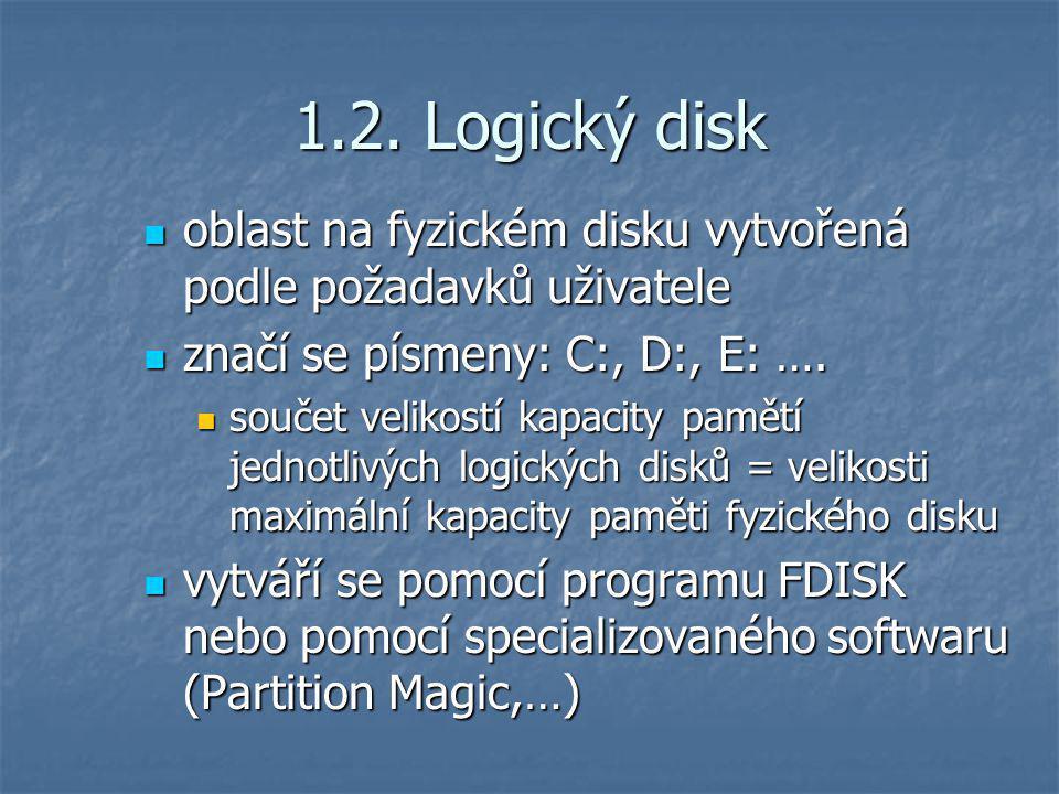1.2. Logický disk oblast na fyzickém disku vytvořená podle požadavků uživatele oblast na fyzickém disku vytvořená podle požadavků uživatele značí se p