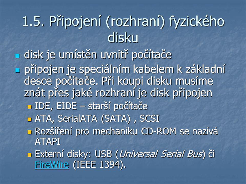 1.5. Připojení (rozhraní) fyzického disku disk je umístěn uvnitř počítače disk je umístěn uvnitř počítače připojen je speciálním kabelem k základní de