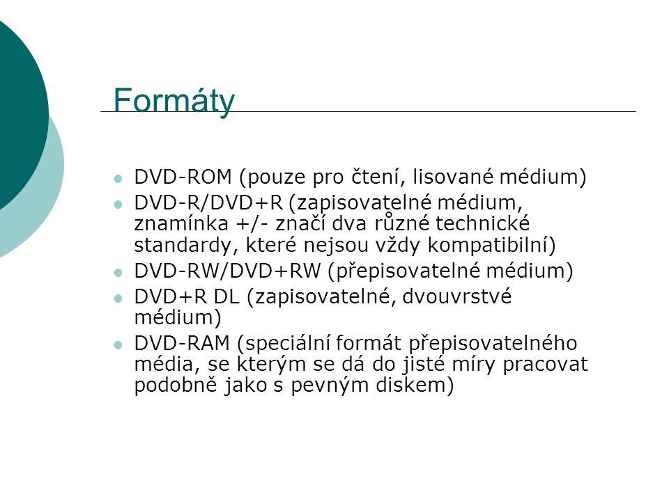 Formáty DVD-ROM (pouze pro čtení, lisované médium) DVD-R/DVD+R (zapisovatelné médium, znamínka +/- značí dva různé technické standardy, které nejsou vždy kompatibilní) DVD-RW/DVD+RW (přepisovatelné médium) DVD+R DL (zapisovatelné, dvouvrstvé médium) DVD-RAM (speciální formát přepisovatelného média, se kterým se dá do jisté míry pracovat podobně jako s pevným diskem)