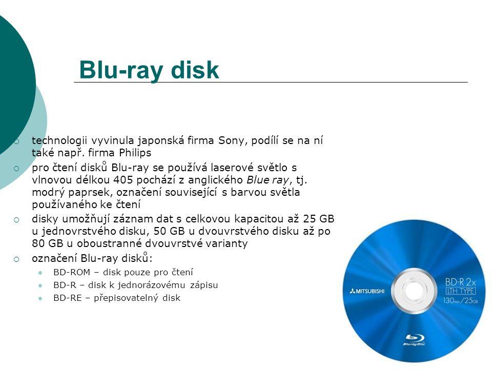 Blu-ray disk  technologii vyvinula japonská firma Sony, podílí se na ní také např.