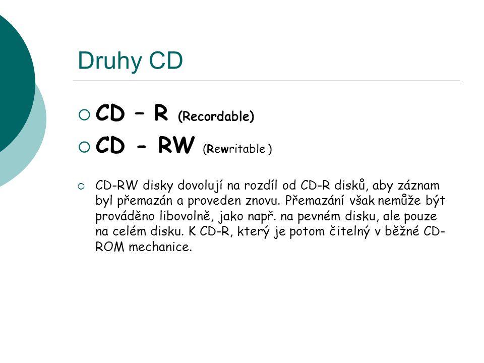 Druhy CD  CD – R (Recordable)  CD - RW (Rewritable )  CD-RW disky dovolují na rozdíl od CD-R disků, aby záznam byl přemazán a proveden znovu.