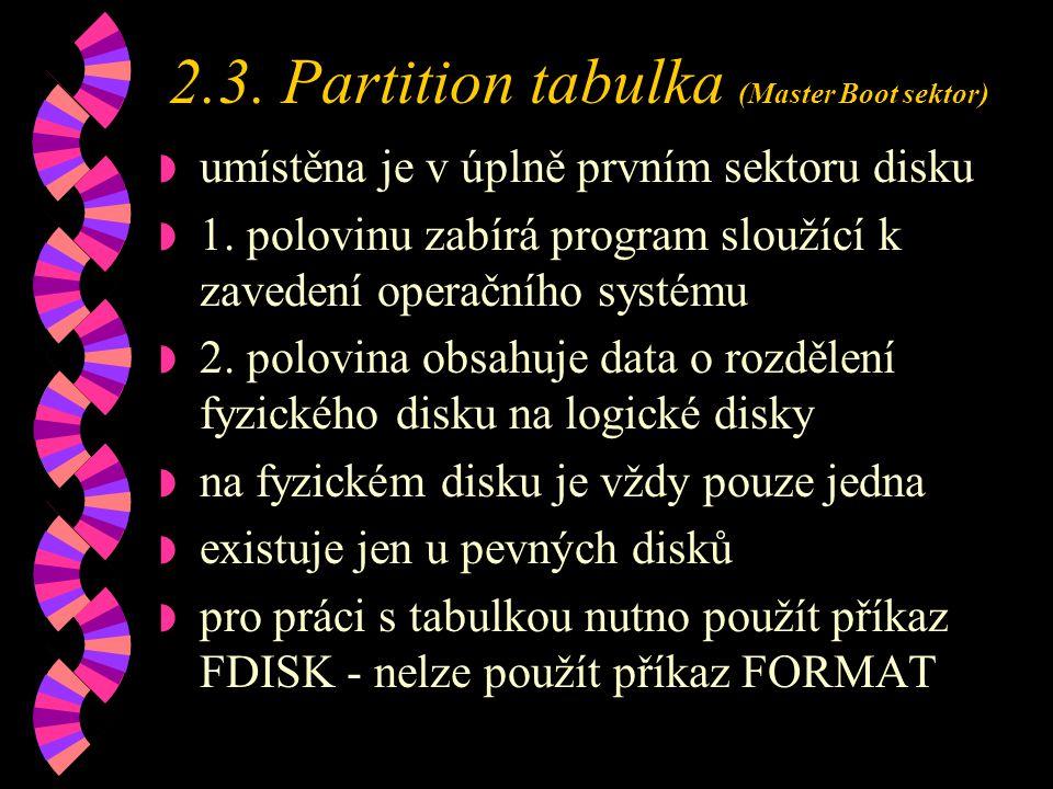 2.3.Partition tabulka (Master Boot sektor) w umístěna je v úplně prvním sektoru disku w 1.