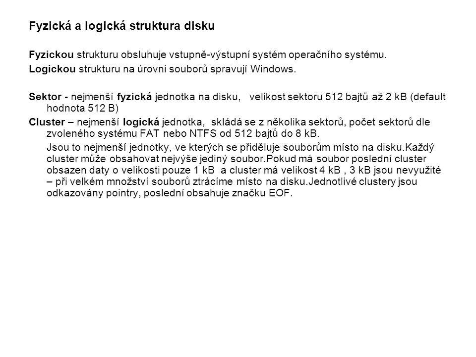 Fyzická a logická struktura disku Fyzickou strukturu obsluhuje vstupně-výstupní systém operačního systému. Logickou strukturu na úrovni souborů spravu
