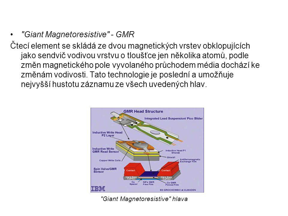 Giant Magnetoresistive - GMR Čtecí element se skládá ze dvou magnetických vrstev obklopujících jako sendvič vodivou vrstvu o tloušťce jen několika atomů, podle změn magnetického pole vyvolaného průchodem média dochází ke změnám vodivosti.