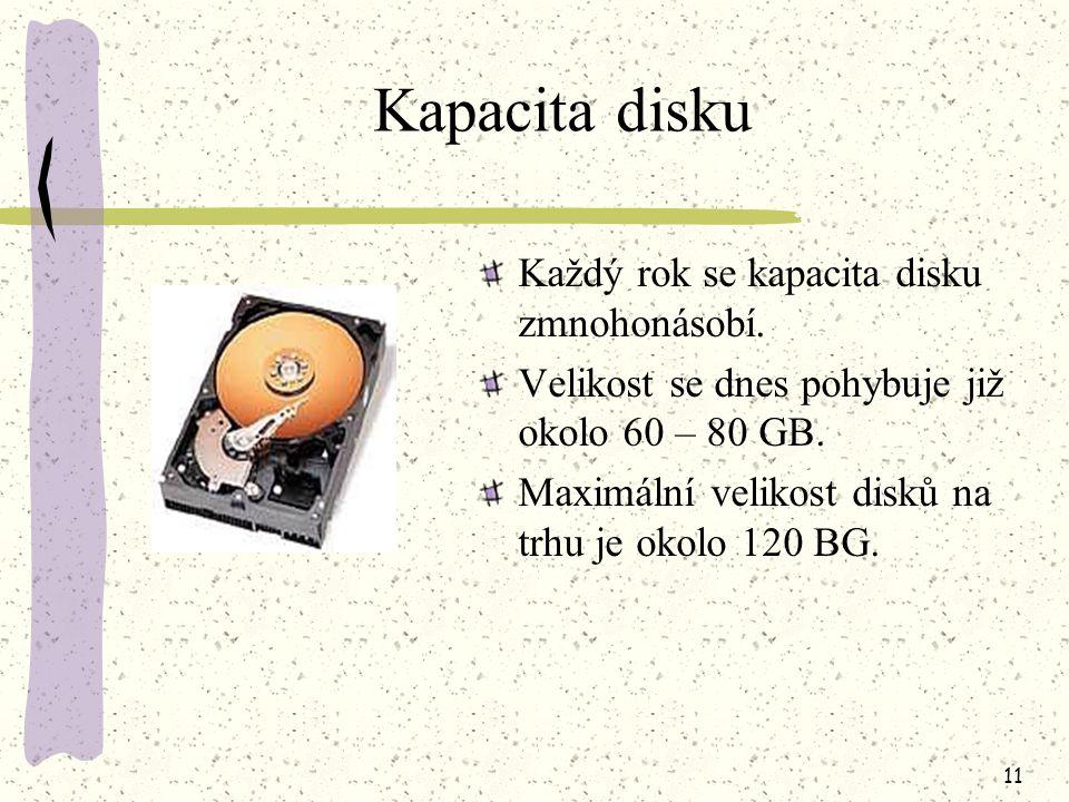 10 Charakteristické vlastnosti kapacita disku přístupová doba rychlost disku (otáčky) přenosová rychlost dat spolehlivost disku typ rozhraní metoda kódování dat