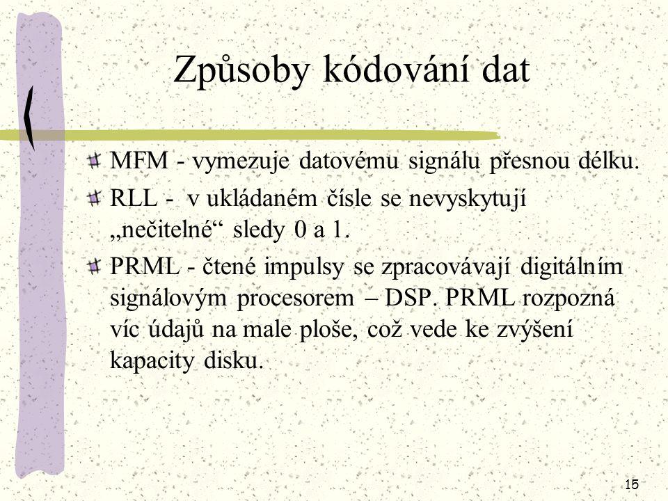 14 Typy rozhraní rozhraní ST506 rozhraní ESDI rozhraní IDE rozhraní EIDE rozhraní SCSI Propojovací kabely pro IDE