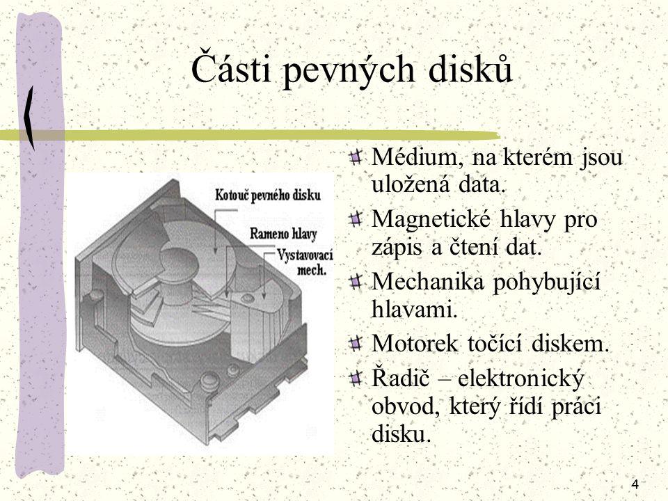 3 Fyzická struktura disku Pro vyhledání údajů musí řadič znát přesnou geometrickou polohu zapsaných údajů. Pro snadnější nalezení informací na povrchu