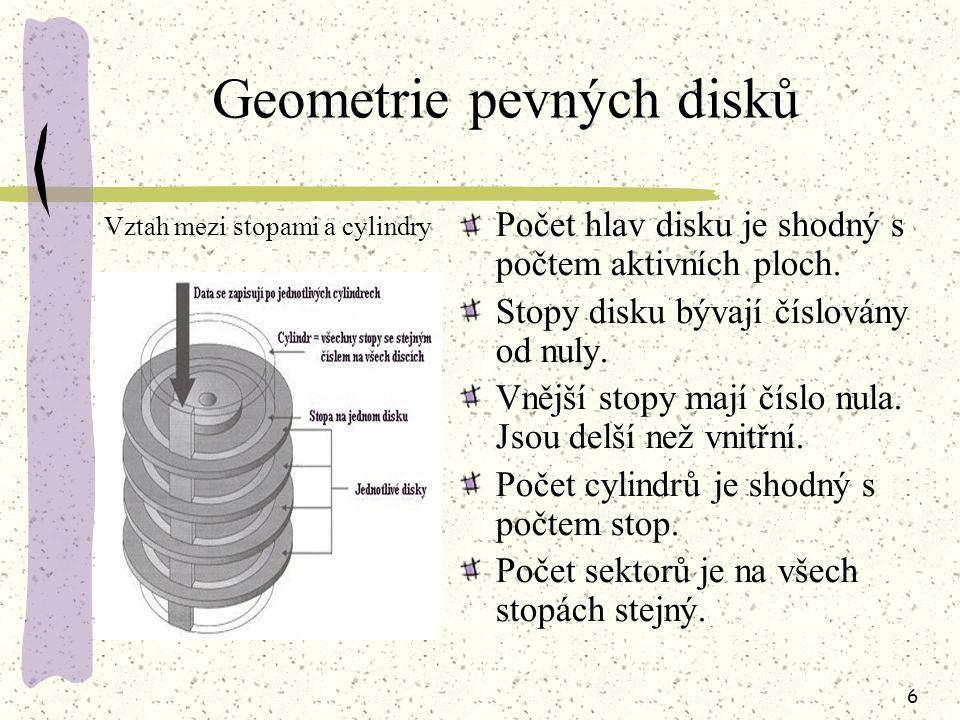5 Způsob zapisování Data se zapisují na magnetický povrch disku pomocí zapisovacích hlav. Hlavy se nepohybují po povrchu disku - vznáší se nad ním. Ne