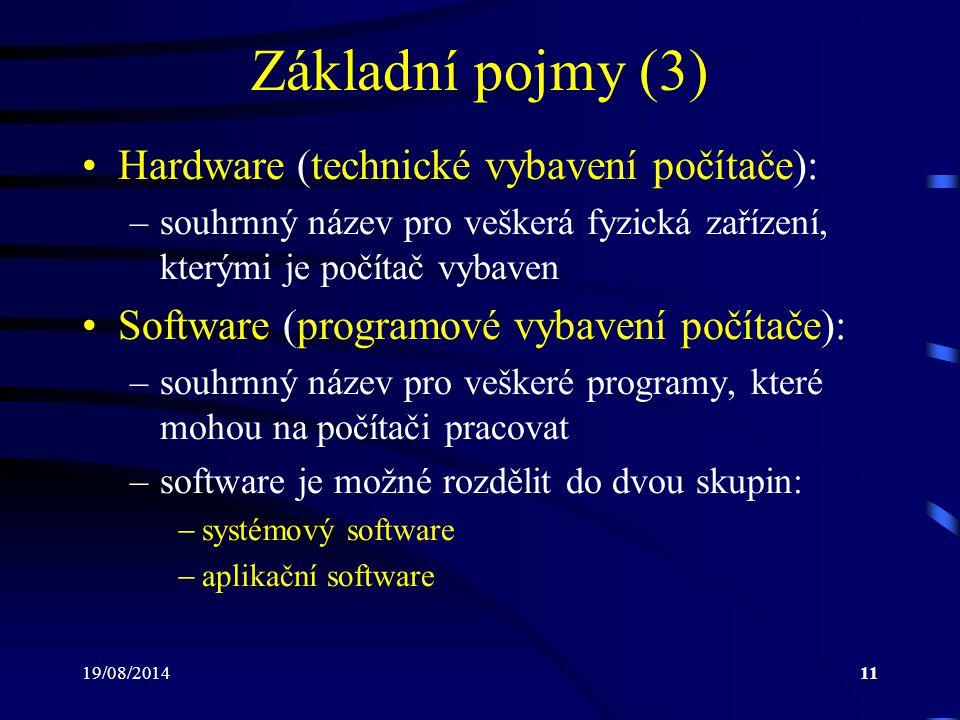 19/08/201411 Základní pojmy (3) Hardware (technické vybavení počítače): –souhrnný název pro veškerá fyzická zařízení, kterými je počítač vybaven Softw