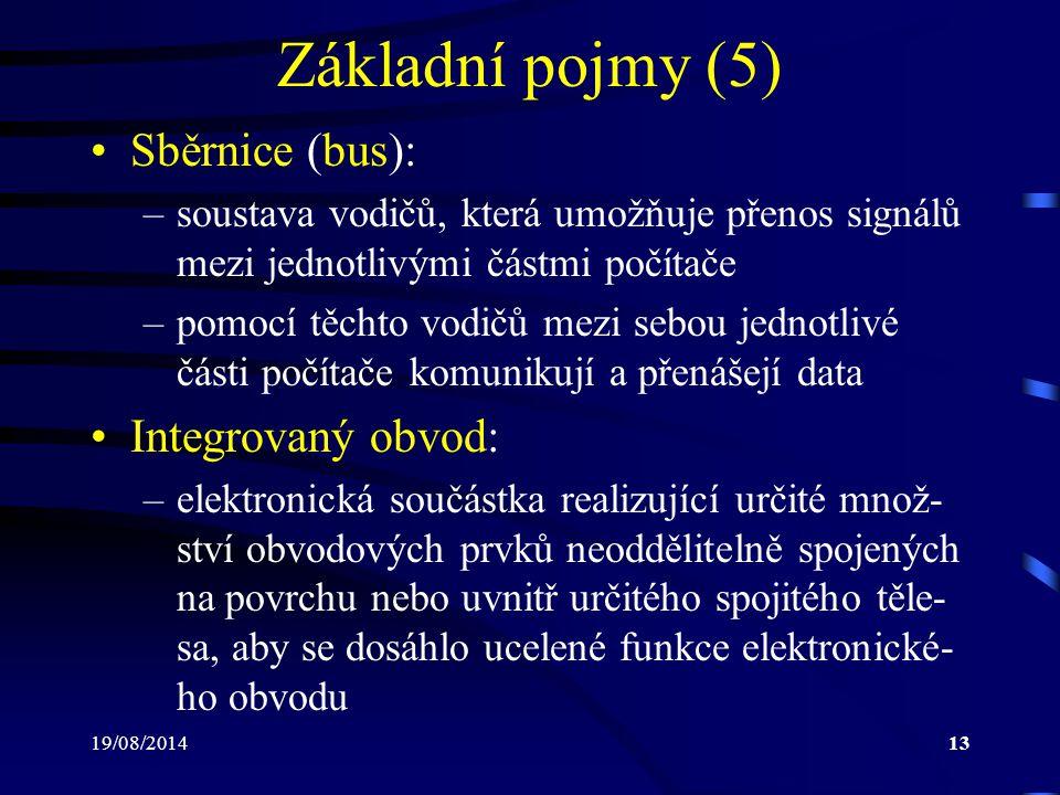 19/08/201413 Základní pojmy (5) Sběrnice (bus): –soustava vodičů, která umožňuje přenos signálů mezi jednotlivými částmi počítače –pomocí těchto vodič
