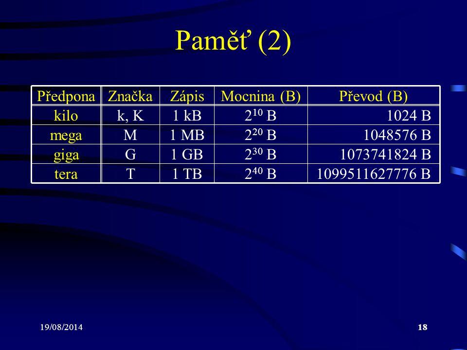 19/08/201418 Paměť (2) PředponaZnačkaZápisMocnina (B)Převod (B) kilo mega giga tera k, K M G T 1 kB 1 MB 1 GB 1 TB 2 10 B 2 20 B 2 30 B 2 40 B 1024 B
