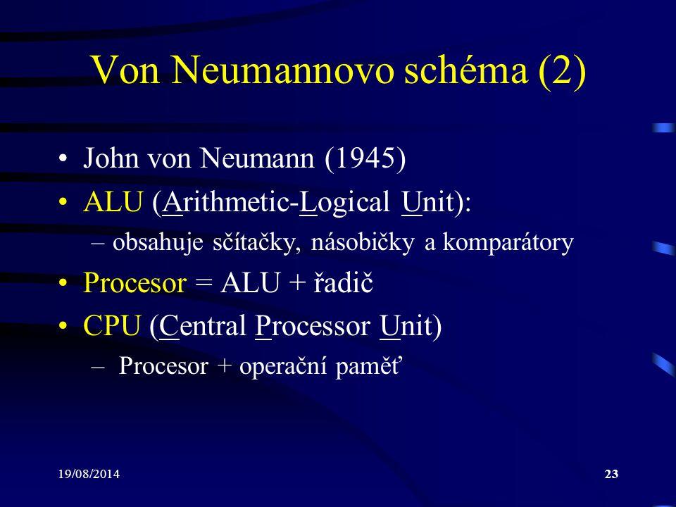 19/08/201423 Von Neumannovo schéma (2) John von Neumann (1945) ALU (Arithmetic-Logical Unit): –obsahuje sčítačky, násobičky a komparátory Procesor = A