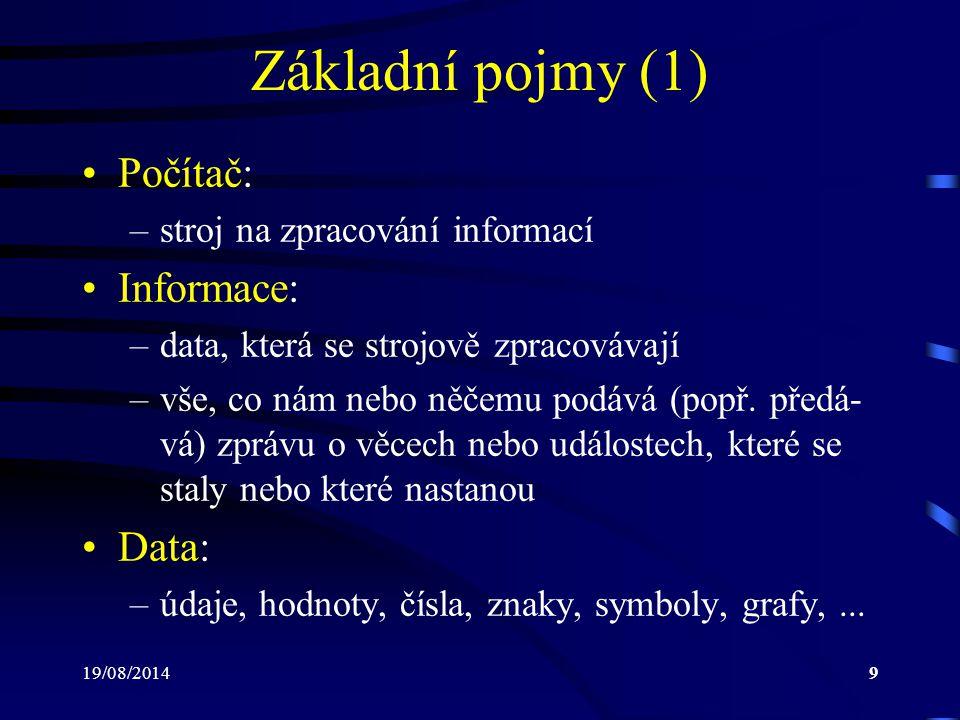19/08/201420 Paměť (4)  Vnitřní (operační): paměť sloužící pro uchování momentálně zpracovávaných dat a programů.
