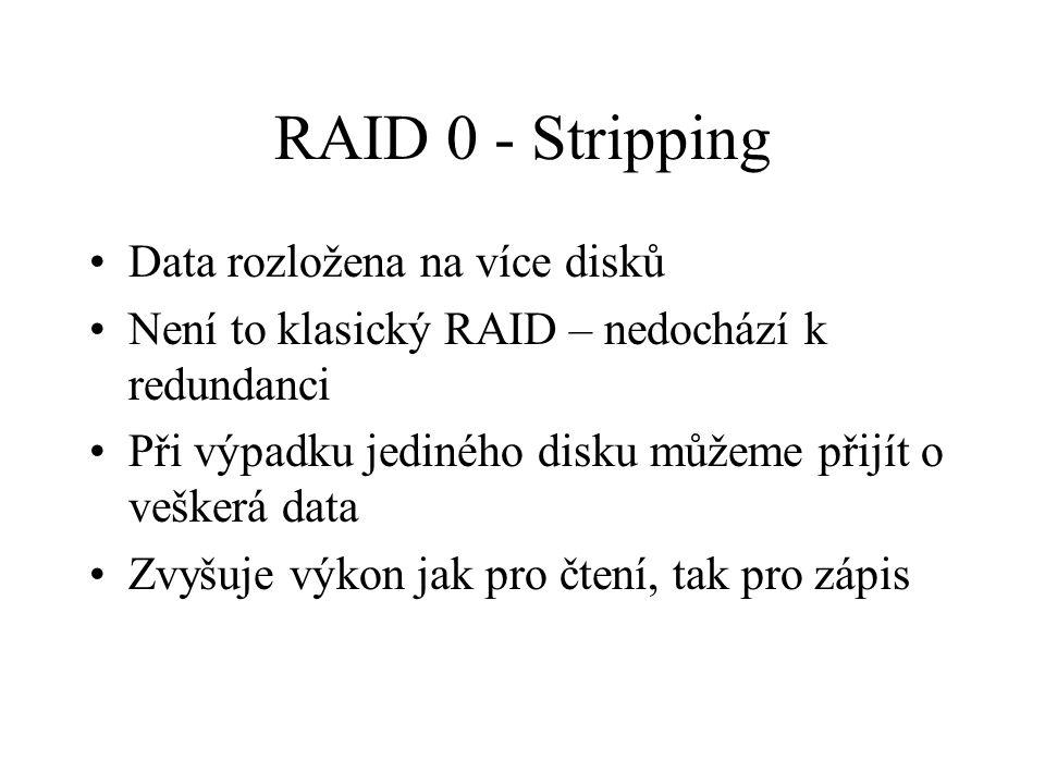 RAID 0 - Stripping Data rozložena na více disků Není to klasický RAID – nedochází k redundanci Při výpadku jediného disku můžeme přijít o veškerá data Zvyšuje výkon jak pro čtení, tak pro zápis