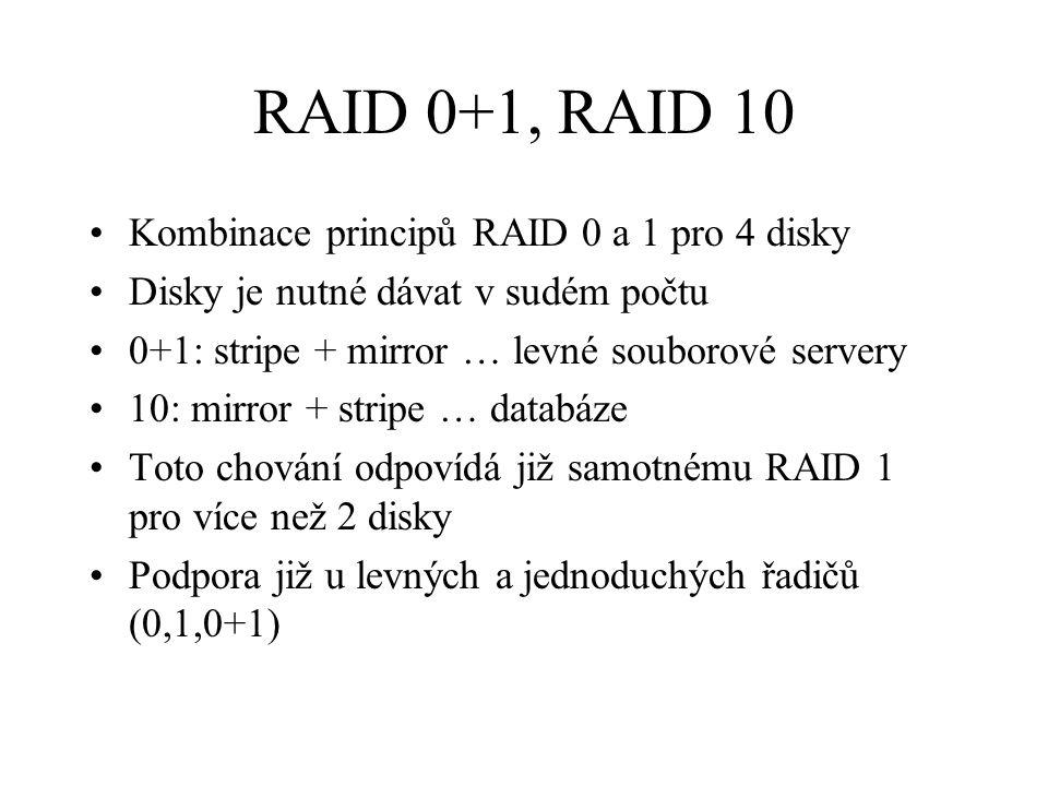 RAID 0+1, RAID 10 Kombinace principů RAID 0 a 1 pro 4 disky Disky je nutné dávat v sudém počtu 0+1: stripe + mirror … levné souborové servery 10: mirror + stripe … databáze Toto chování odpovídá již samotnému RAID 1 pro více než 2 disky Podpora již u levných a jednoduchých řadičů (0,1,0+1)