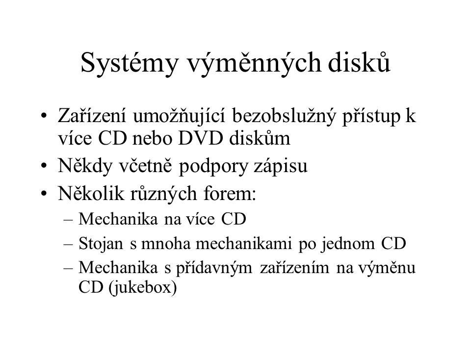Systémy výměnných disků Zařízení umožňující bezobslužný přístup k více CD nebo DVD diskům Někdy včetně podpory zápisu Několik různých forem: –Mechanika na více CD –Stojan s mnoha mechanikami po jednom CD –Mechanika s přídavným zařízením na výměnu CD (jukebox)