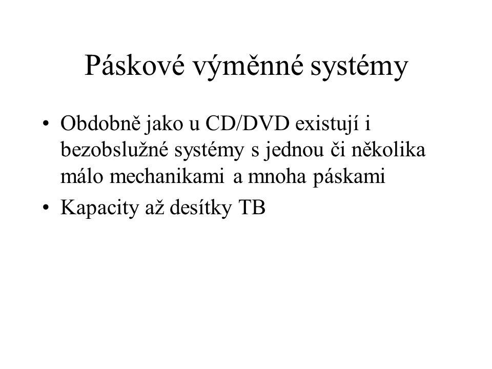 Páskové výměnné systémy Obdobně jako u CD/DVD existují i bezobslužné systémy s jednou či několika málo mechanikami a mnoha páskami Kapacity až desítky TB