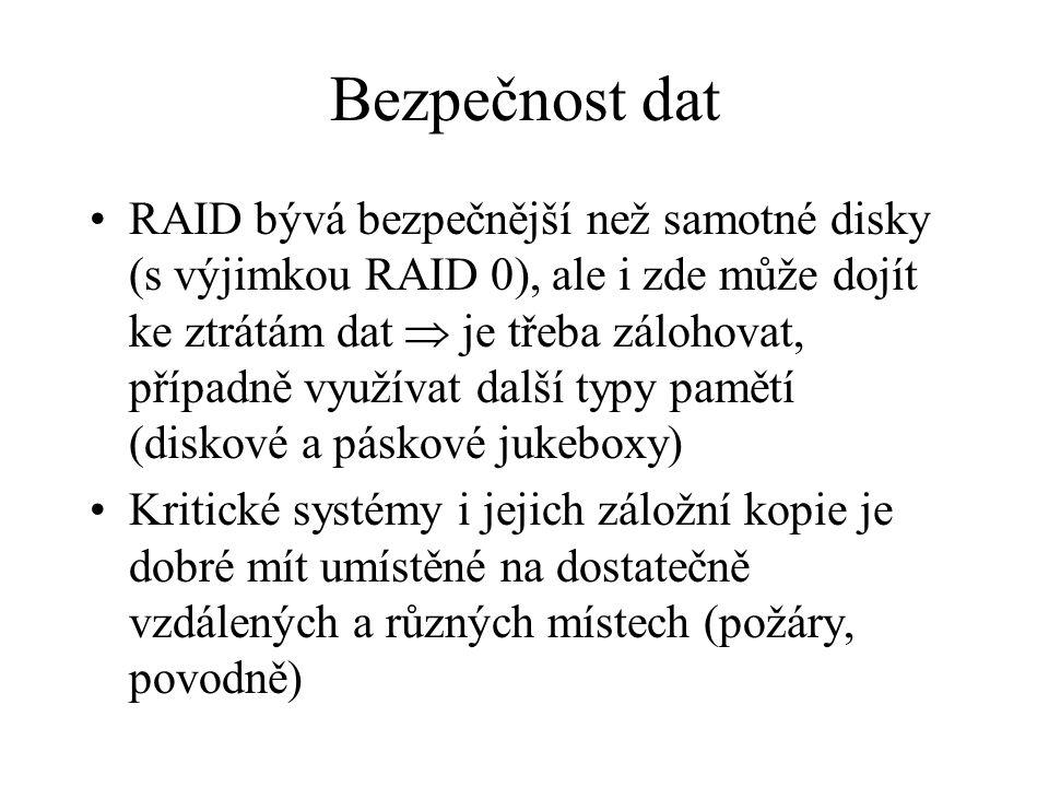 Bezpečnost dat RAID bývá bezpečnější než samotné disky (s výjimkou RAID 0), ale i zde může dojít ke ztrátám dat  je třeba zálohovat, případně využíva