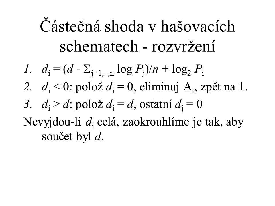 Částečná shoda v hašovacích schematech - rozvržení 1.d i = (d -  j=1,..,n log P j )/n + log 2 P i 2.d i < 0: polož d i = 0, eliminuj A i, zpět na 1.