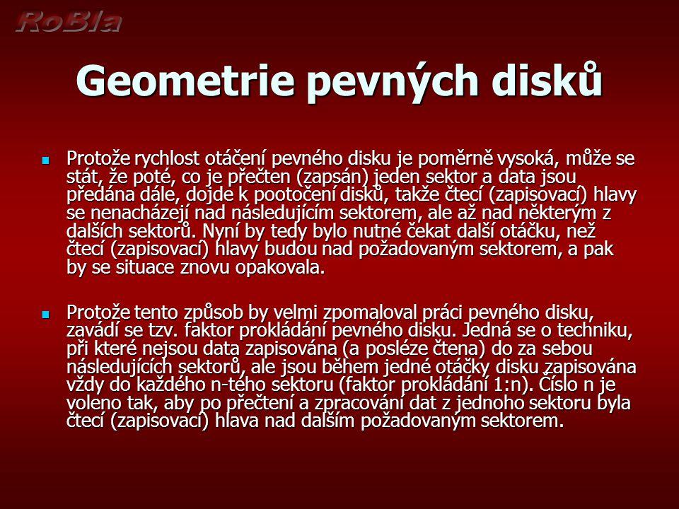 Geometrie pevných disků Protože rychlost otáčení pevného disku je poměrně vysoká, může se stát, že poté, co je přečten (zapsán) jeden sektor a data js