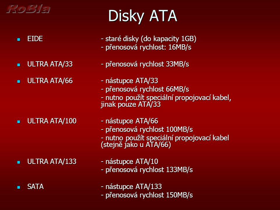 Disky ATA EIDE- staré disky (do kapacity 1GB) EIDE- staré disky (do kapacity 1GB) - přenosová rychlost: 16MB/s ULTRA ATA/33- přenosová rychlost 33MB/s