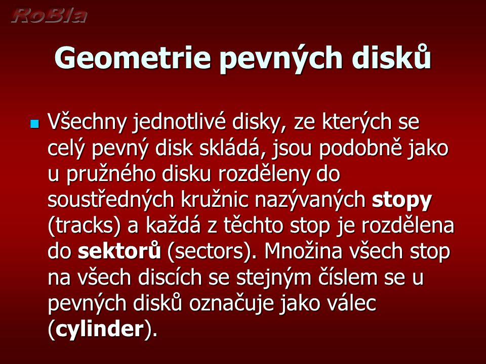 Geometrie pevných disků Všechny jednotlivé disky, ze kterých se celý pevný disk skládá, jsou podobně jako u pružného disku rozděleny do soustředných k