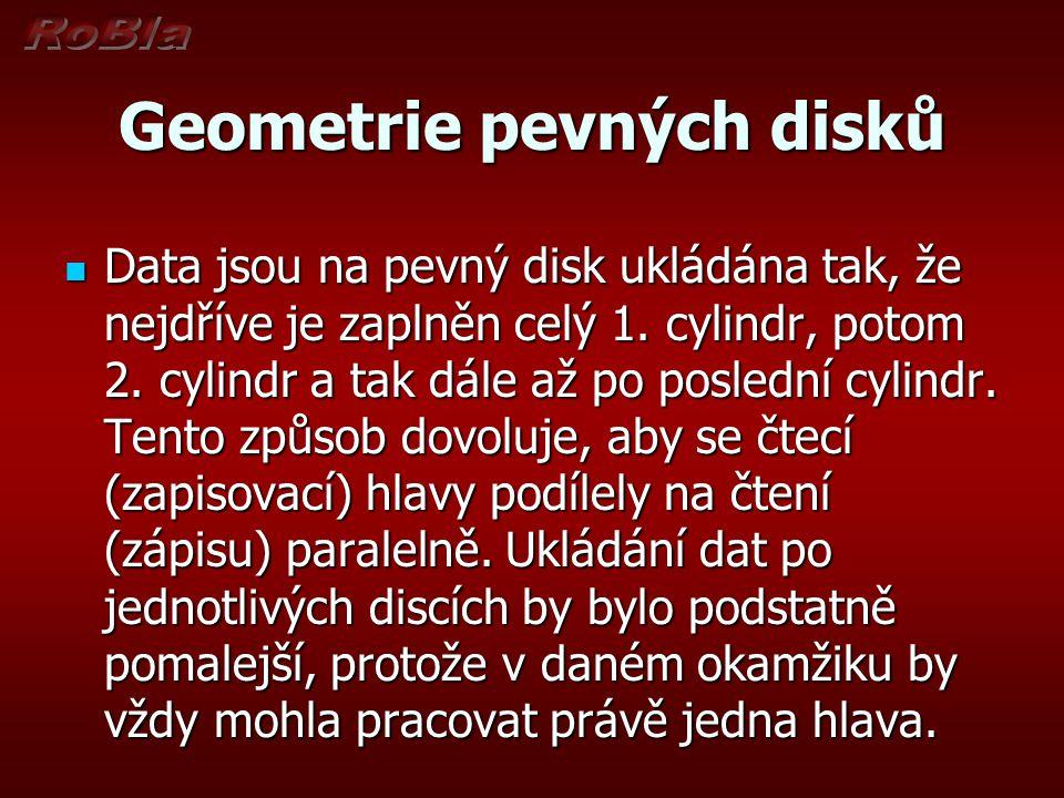 Geometrie pevných disků Data jsou na pevný disk ukládána tak, že nejdříve je zaplněn celý 1. cylindr, potom 2. cylindr a tak dále až po poslední cylin