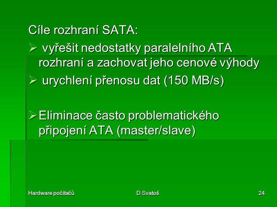 Hardware počítačůD.Svatoš24 Cíle rozhraní SATA:  vyřešit nedostatky paralelního ATA rozhraní a zachovat jeho cenové výhody  urychlení přenosu dat (150 MB/s)  Eliminace často problematického připojení ATA (master/slave)