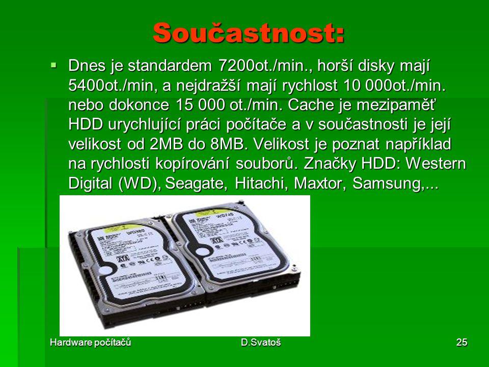 Hardware počítačůD.Svatoš25 Součastnost:  Dnes je standardem 7200ot./min., horší disky mají 5400ot./min, a nejdražší mají rychlost 10 000ot./min.