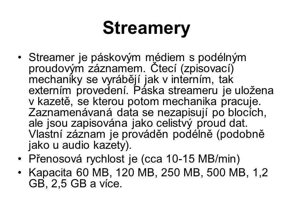 Streamery Streamer je páskovým médiem s podélným proudovým záznamem. Čtecí (zpisovací) mechaniky se vyrábějí jak v interním, tak externím provedení. P