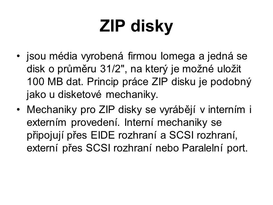 ZIP disky jsou média vyrobená firmou Iomega a jedná se disk o průměru 31/2