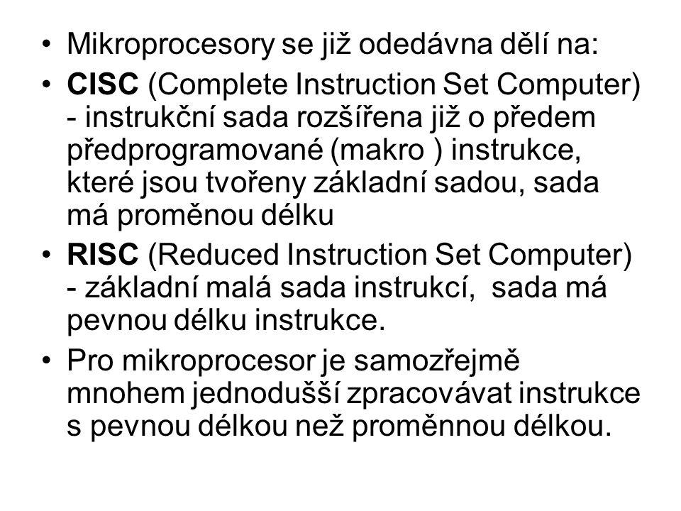 Mikroprocesory se již odedávna dělí na: CISC (Complete Instruction Set Computer) - instrukční sada rozšířena již o předem předprogramované (makro ) in