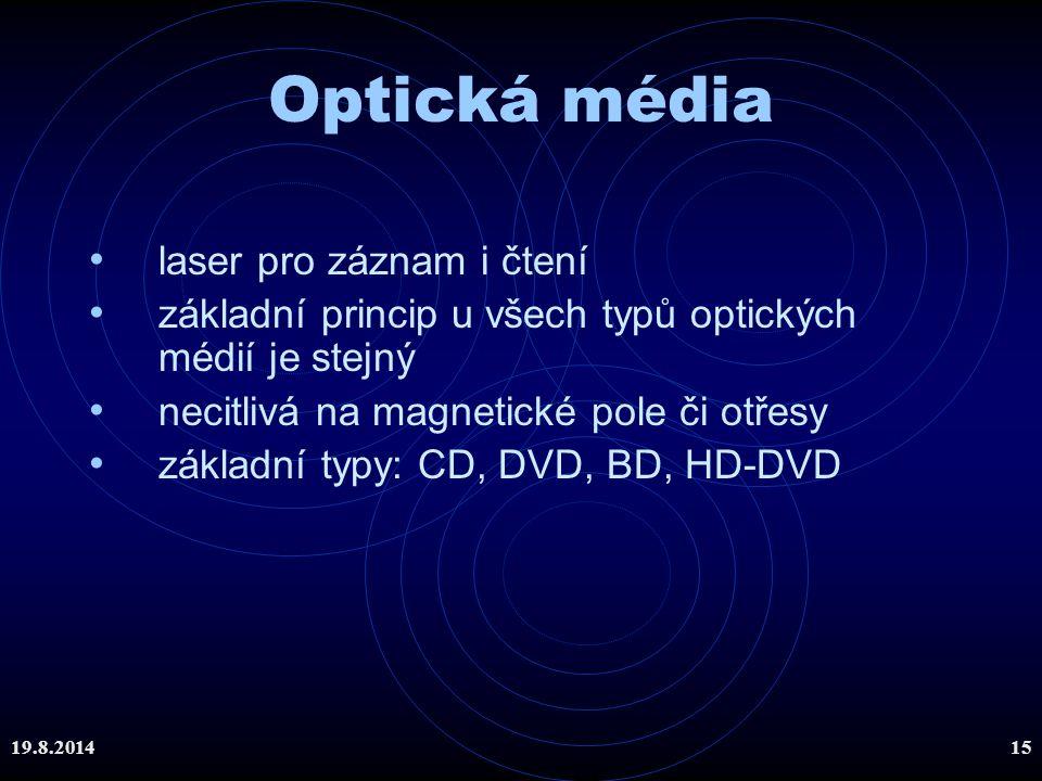 19.8.201415 Optická média laser pro záznam i čtení základní princip u všech typů optických médií je stejný necitlivá na magnetické pole či otřesy zákl