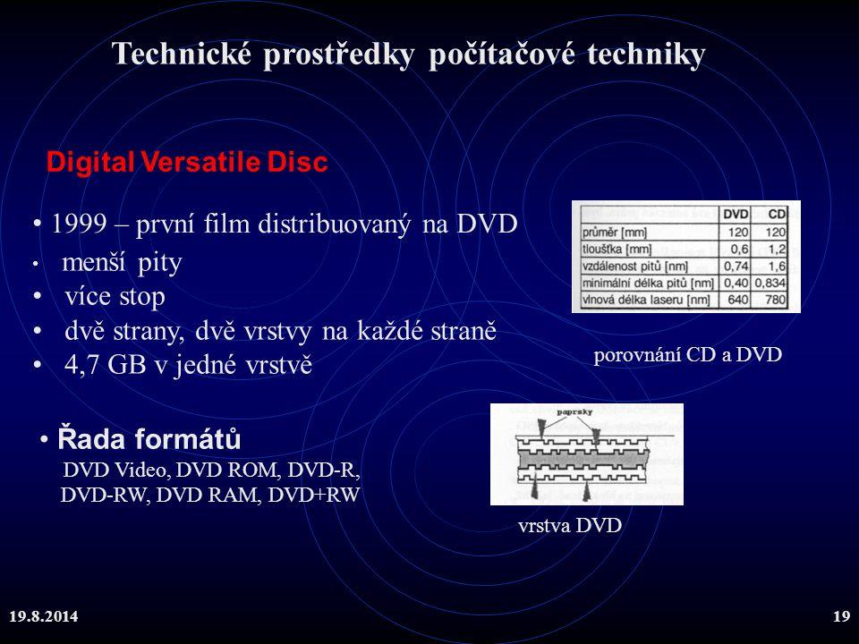 19.8.201419 Digital Versatile Disc 1999 – první film distribuovaný na DVD menší pity více stop dvě strany, dvě vrstvy na každé straně 4,7 GB v jedné v