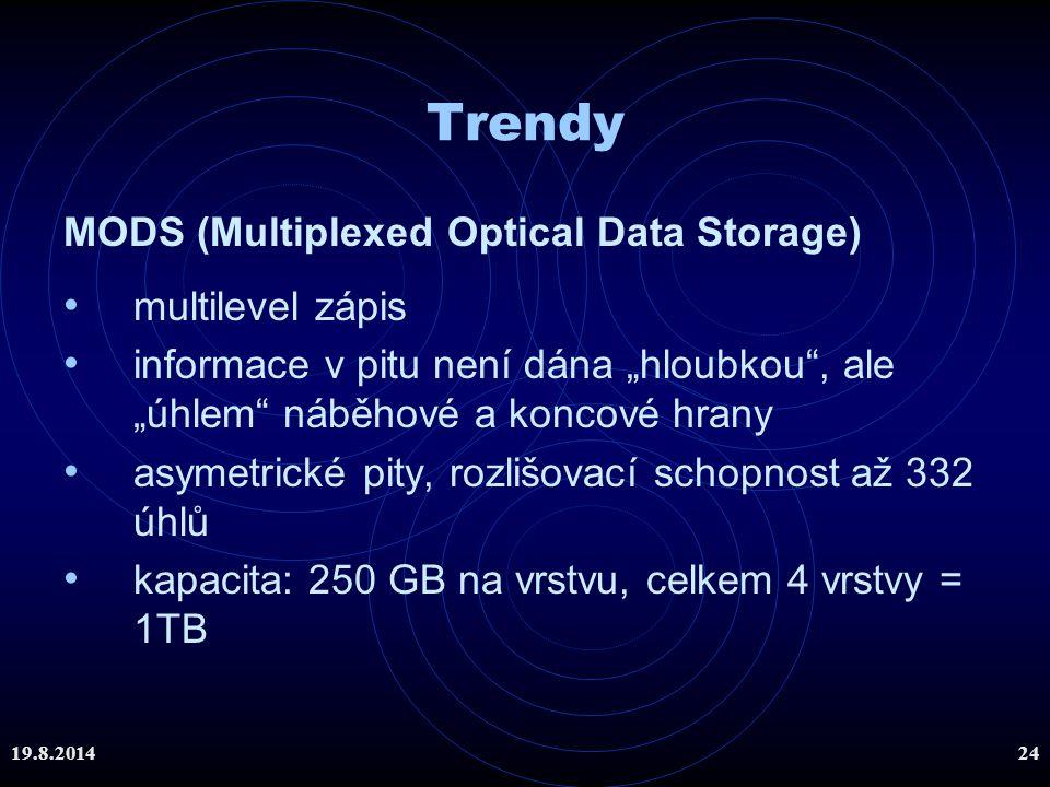"""19.8.201424 Trendy MODS (Multiplexed Optical Data Storage) multilevel zápis informace v pitu není dána """"hloubkou"""", ale """"úhlem"""" náběhové a koncové hran"""