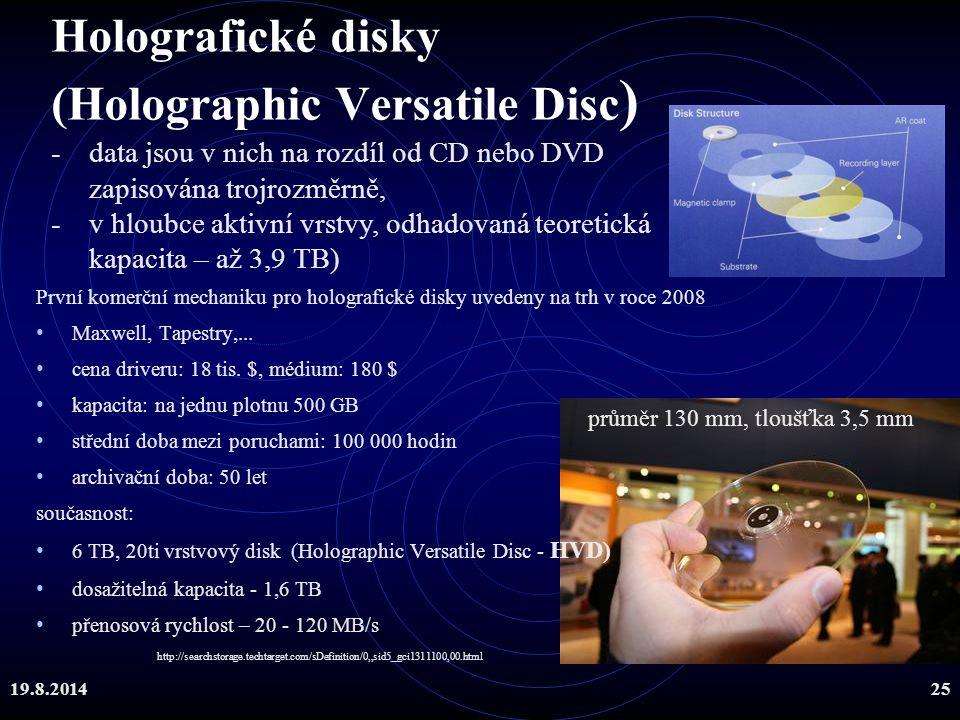 19.8.201425 Holografické disky (Holographic Versatile Disc ) První komerční mechaniku pro holografické disky uvedeny na trh v roce 2008 Maxwell, Tapes