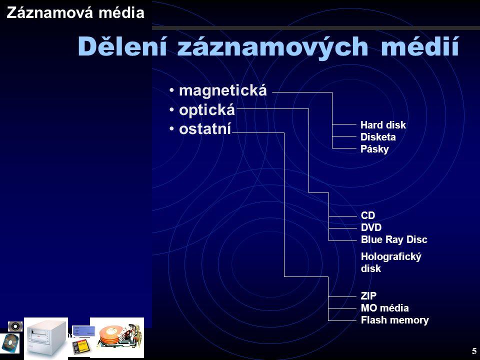 Záznamová média 19.8.2014 5 Záznamová média magnetická optická ostatní Hard disk Disketa Pásky CD DVD Blue Ray Disc Holografický disk ZIP MO média Fla