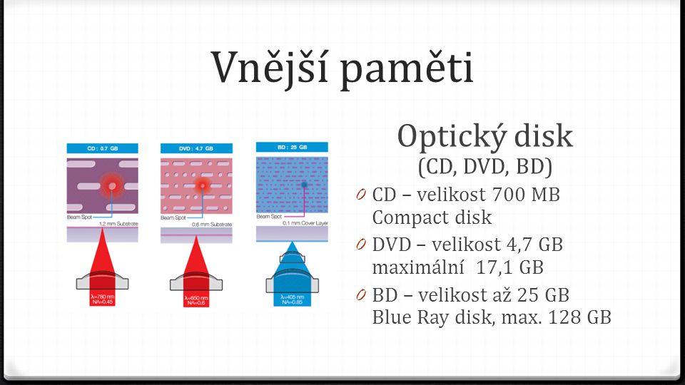 Vnější paměti Optický disk (CD, DVD, BD) 0 CD – velikost 700 MB Compact disk 0 DVD – velikost 4,7 GB maximální 17,1 GB 0 BD – velikost až 25 GB Blue R