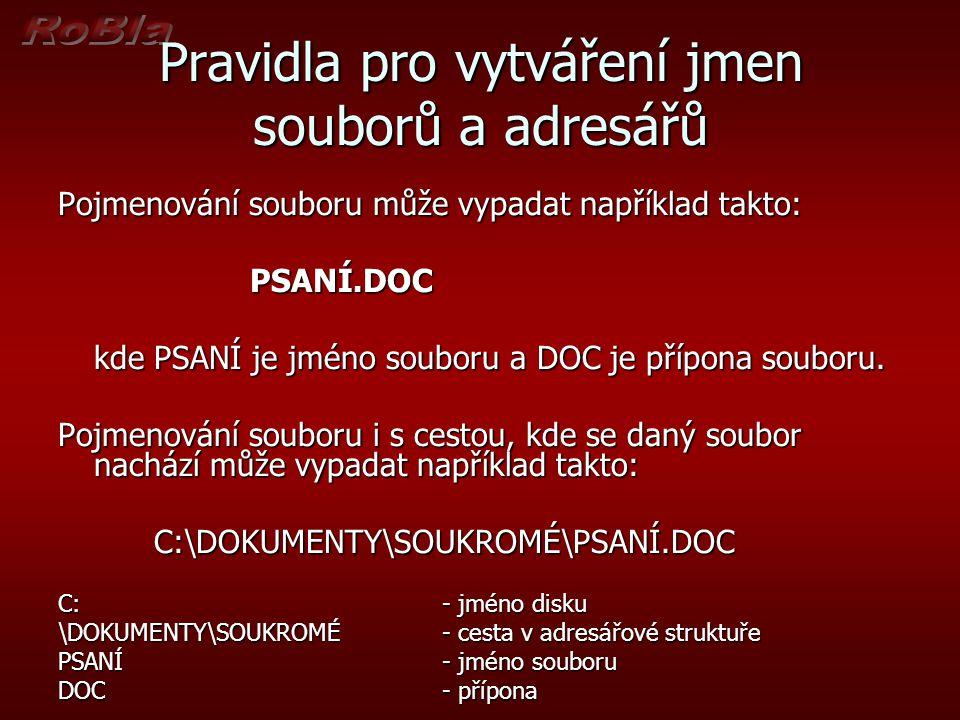 Pravidla pro vytváření jmen souborů a adresářů Pojmenování souboru může vypadat například takto: PSANÍ.DOC kde PSANÍ je jméno souboru a DOC je přípona