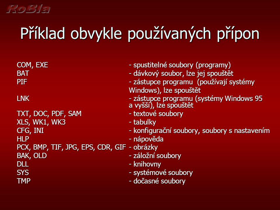 Příklad obvykle používaných přípon COM, EXE - spustitelné soubory (programy) BAT - dávkový soubor, lze jej spouštět PIF - zástupce programu (používají