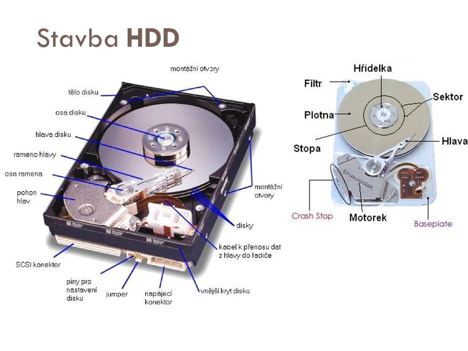 Obecné parametry HDD  Hustota datového záznamu[bit/mm²]  Rychlost otáčení (5400 ot./min – 15 000 ot./min)  Kapacita se odvíjí od počtu ploten a diskových hlav  Průměr ploten – standardně 3,5