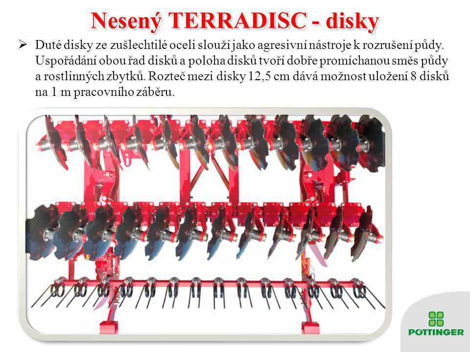  Hladké nebo tvarované disky  Průměr 510 mm s roztečí 12,5 cm  Dvouřadé kuličkové ložisko pro spolehlivý přenos radiálního i axiálního zatížení  Bezúdržbová konstrukce  Nonstop jištění Nesený TERRADISC – disky Nesený TERRADISC – disky