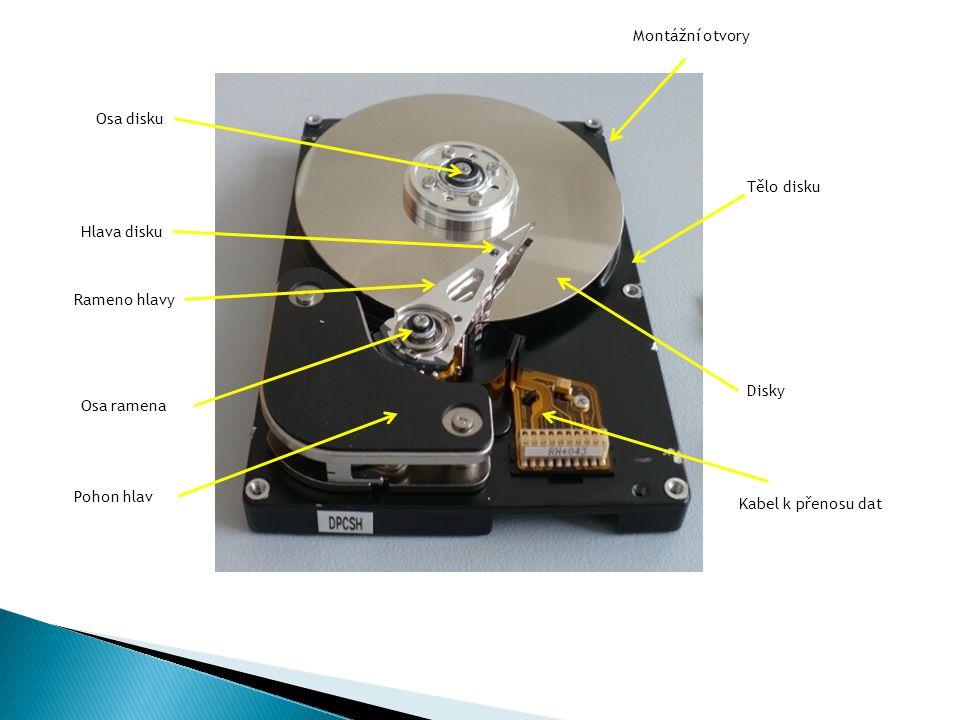 Montážní otvory Tělo disku Disky Osa ramena Osa disku Hlava disku Rameno hlavy Pohon hlav Kabel k přenosu dat