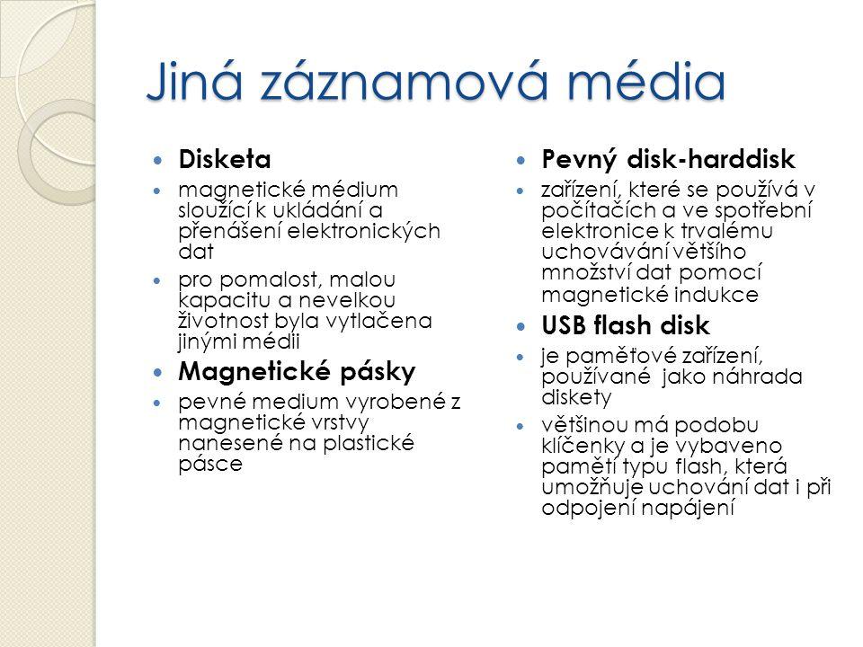 Jiná záznamová média Disketa magnetické médium sloužící k ukládání a přenášení elektronických dat pro pomalost, malou kapacitu a nevelkou životnost by