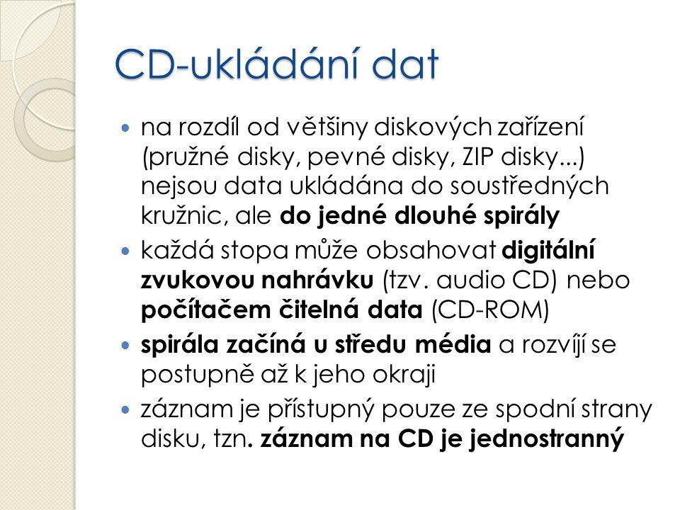 CD-ukládání dat na rozdíl od většiny diskových zařízení (pružné disky, pevné disky, ZIP disky...) nejsou data ukládána do soustředných kružnic, ale do