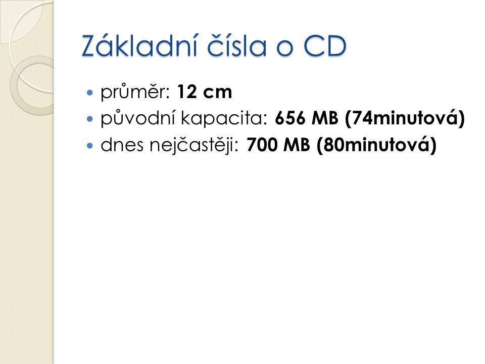 Základní čísla o CD průměr: 12 cm původní kapacita: 656 MB (74minutová) dnes nejčastěji: 700 MB (80minutová)