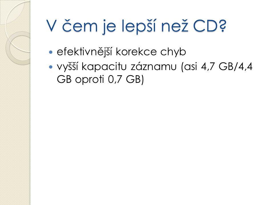 V čem je lepší než CD? efektivnější korekce chyb vyšší kapacitu záznamu (asi 4,7 GB/4,4 GB oproti 0,7 GB)