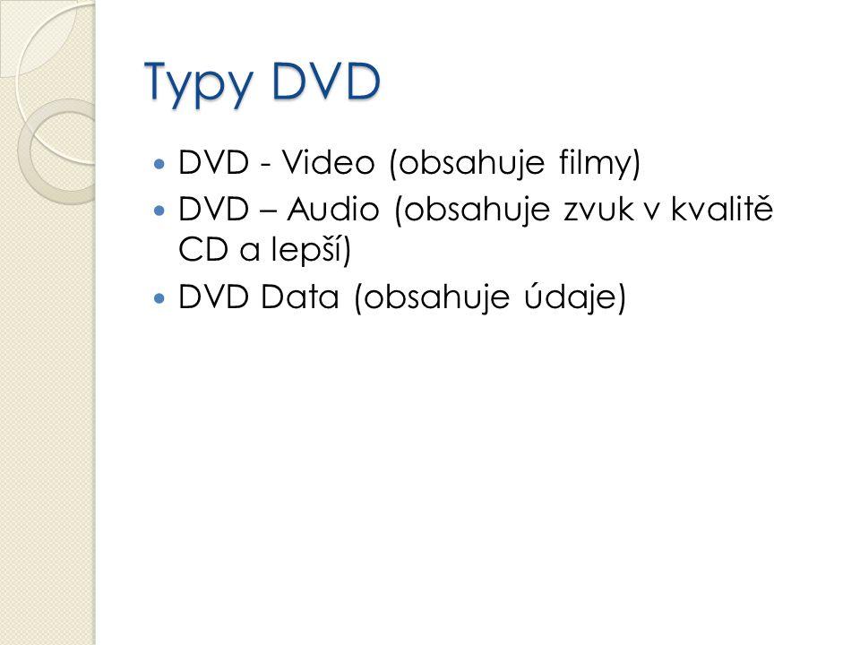 Typy DVD DVD - Video (obsahuje filmy) DVD – Audio (obsahuje zvuk v kvalitě CD a lepší) DVD Data (obsahuje údaje)